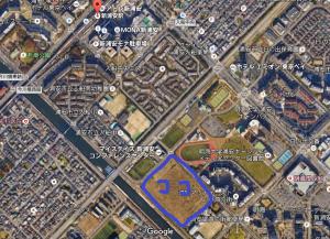 画像出典:グーグルマップ 青枠内が現地